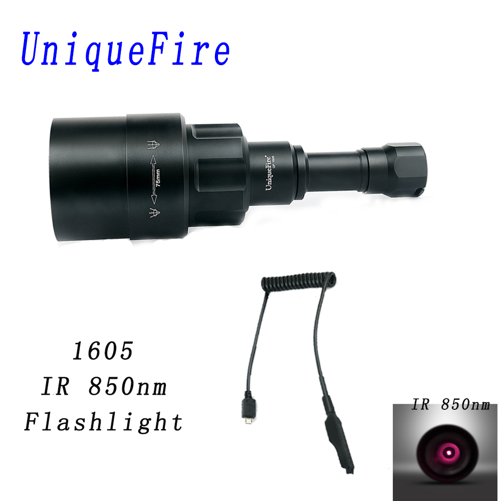 UniqueFire 1605 Zoomable 75mm lens IR 850nm Flashlight 3 Modes Night Vision Torch Rechargeable For Hunting with Remote Switch uniquefire 1407 torch 850nm ir led torch zoomable 3 mode flashlight night vision lantern and pressure switch for 1 18650 battery