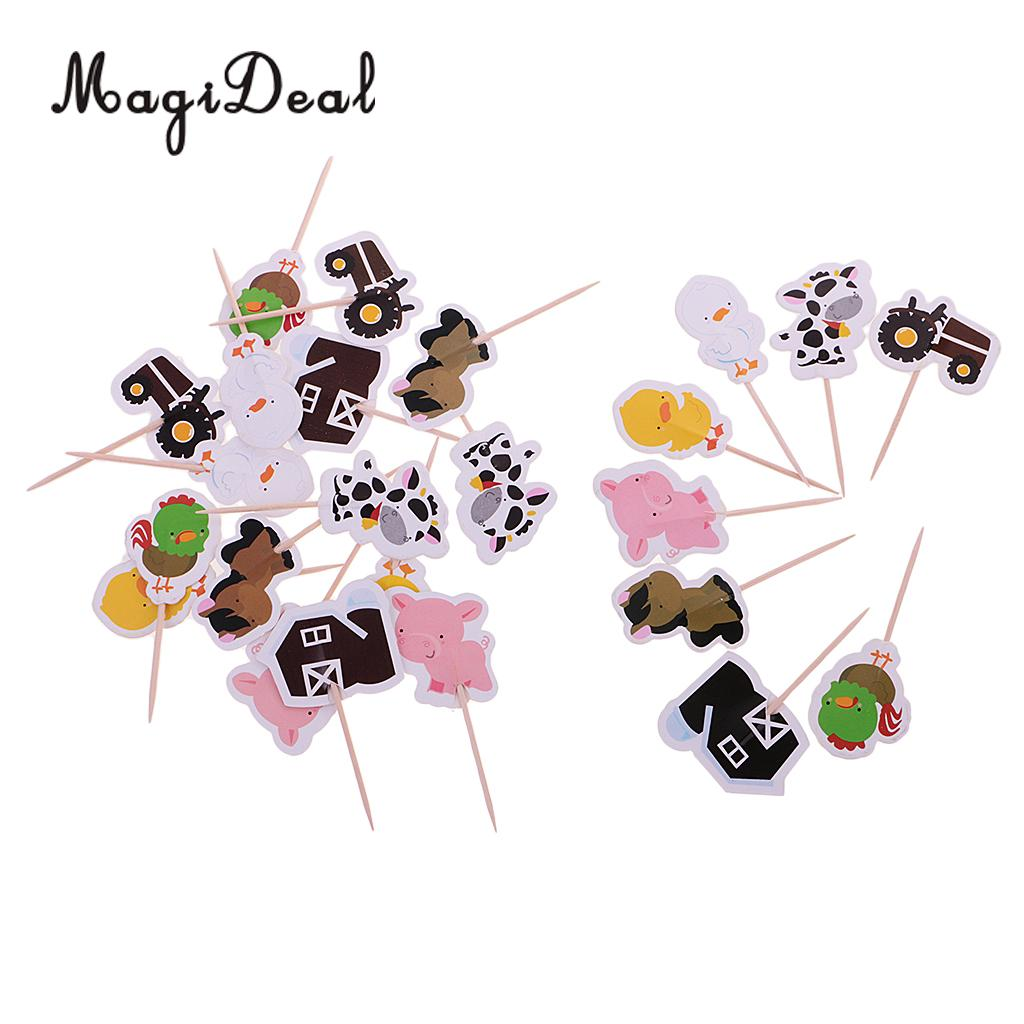 MagiDeal Lovely 24Pcs/Lot Farm Animal Cake Cupcake Topper for Kids Birthday Party Baby Shower Christmas Food Picks Supply Multi