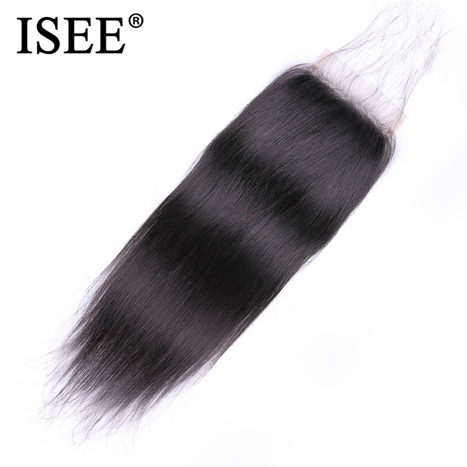 ISEE HAIR Peruvian Straight Hair Closure Free Part Hand Tied Lace Closure Remy Human Hair Extension