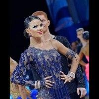 Sexy Lace Women Latin Dance Competition Dress with Tassels bodysuit Mesh Lycra Salsa Samba Rumba Stage Dance Wear Latin Dress