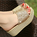 2017 New Summer Platform Women Slides Sandals Shoes Leather Thick With Wedges Fish Head Slippers High Heel Beach Sandals KA35-40