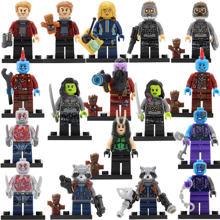 PG8044 Marvel Figure Rocket Racoon Gamora Star-Lord Groot Taserface Mantis Peter Quill Drax Building Blocks Model Toys guardians of the galaxy groot tree man rocket racoon star lord peter quill drax the destroyer building blocks kids toys pg8044