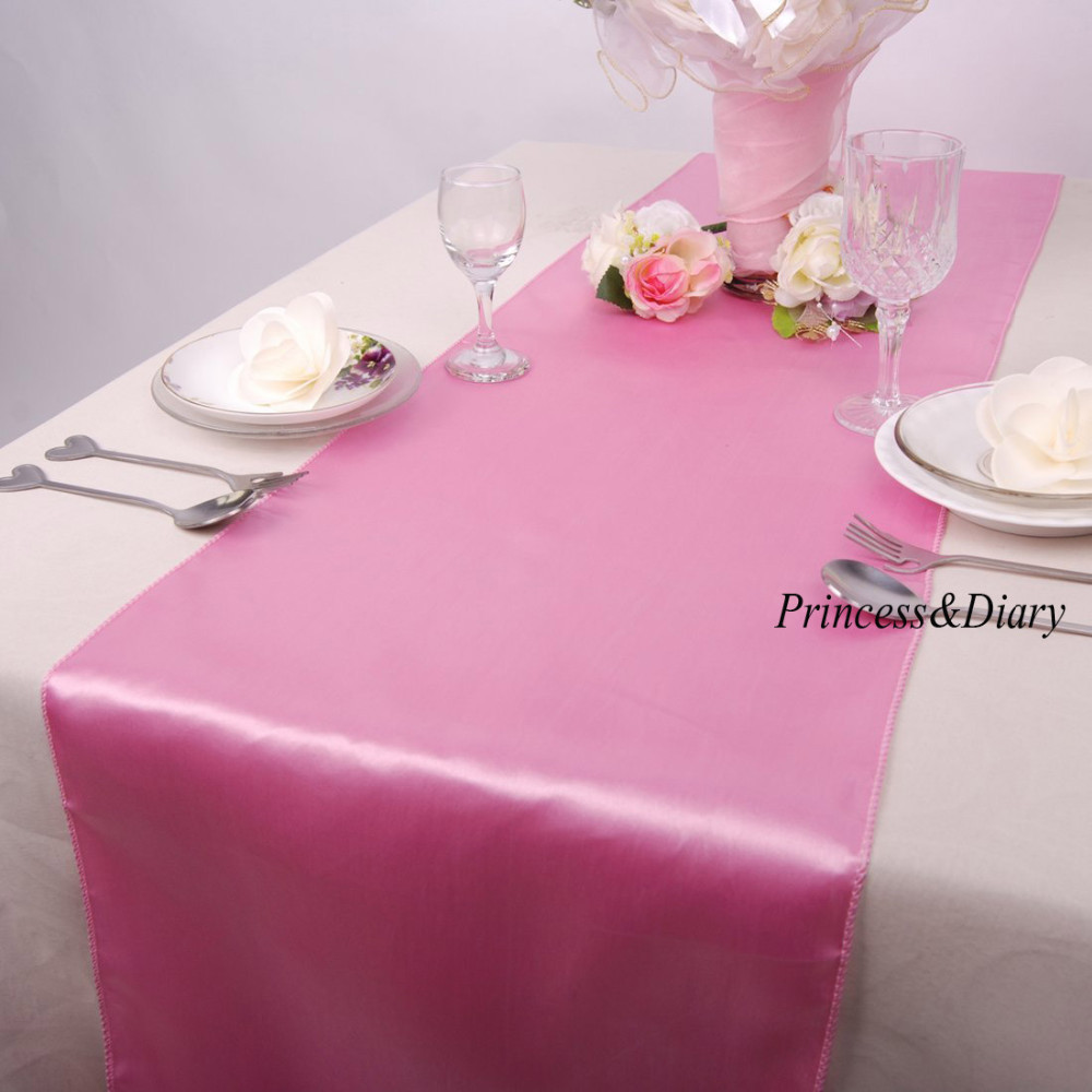20 Pieces Pink Color Satin Table Runner 12inch X 108inch
