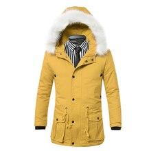 Зимняя Куртка Мужчины 2016 Моды Конфеты Цвет Ватные Куртки Мужчины с капюшоном Меховой Воротник Пальто Карман Теплый Толстый Длинный Плащ W53