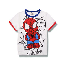 child boys t-shirt summer time clothes for boys youngsters tees kids quick sleeve t shirt 100% cotton high quality cartoon hero