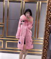 Latest design 100% real fox fur collar sequins embroidery women trench coat plus size long hooded ladies coats pink /blue