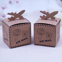 50pcs Lovely Air Plane Rustic Kraft Candy Box Wedding Party Box Birthday Party Decorations Kids Baby