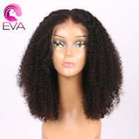 Short Lace Front Human Hair Wigs Brazilian Virgin Hair Kinky Curly 150 Density 13X6 Deep Part Bob Wigs Pre Plucked Eva Hair