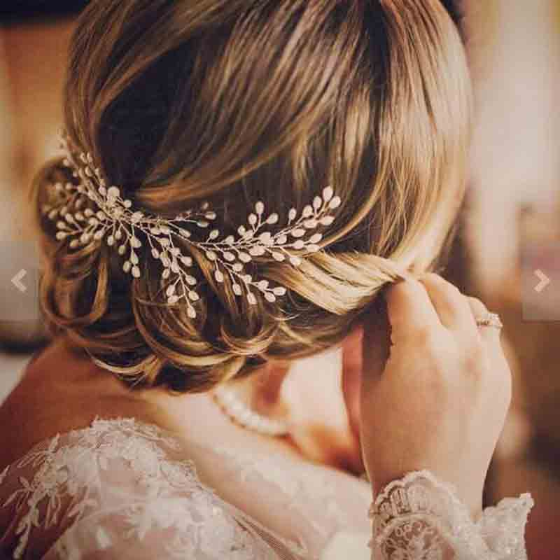 2018 nuevos accesorios para el pelo de la novia de lujo 100% hecho a mano de la perla de la joyería del pelo de la boda