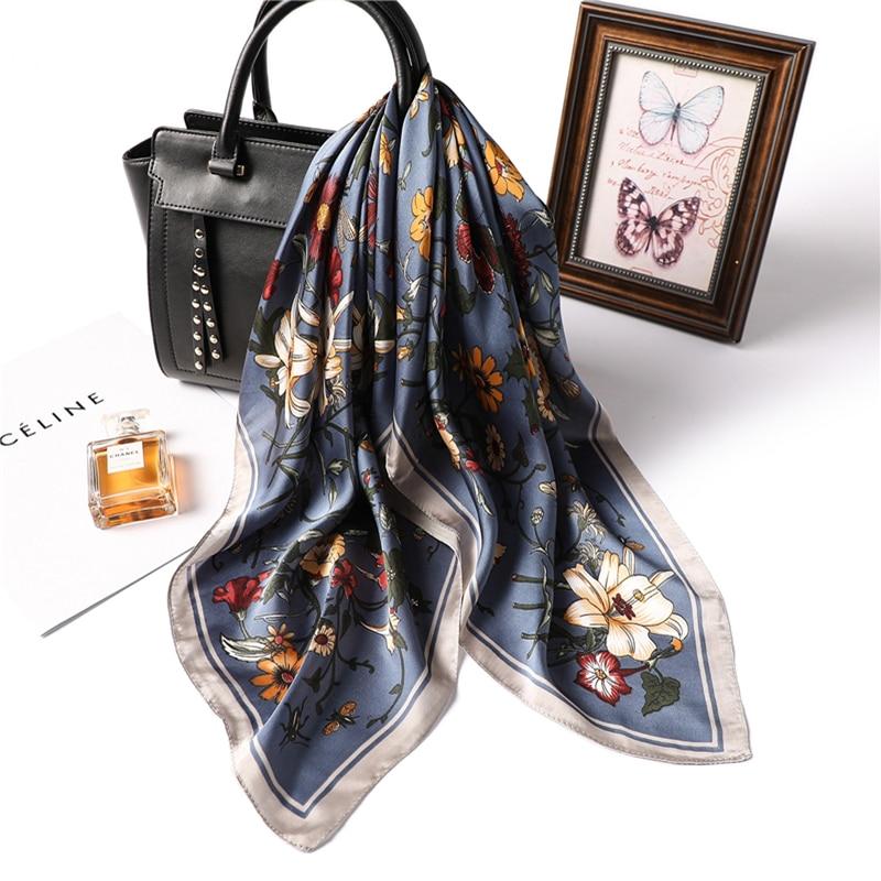 Designer Brand Women Scarf Fashion 2019 Flower Print Silk Scarves Square Small Handkerchief Office Neck Hair Scarfs 70*70cm