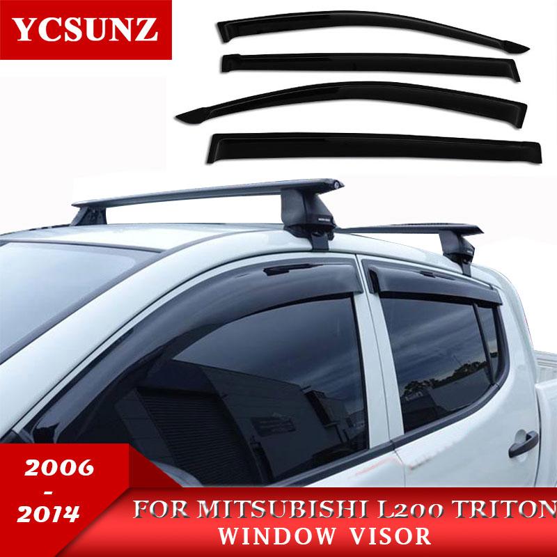 ABS Pluie Fenêtre Visière De Accessoire Pour Mitsubishi L200 Triton 2006 2007 2008 2009 2010 2012 2013 2014 Voiture Vent déflecteur Ycsunz