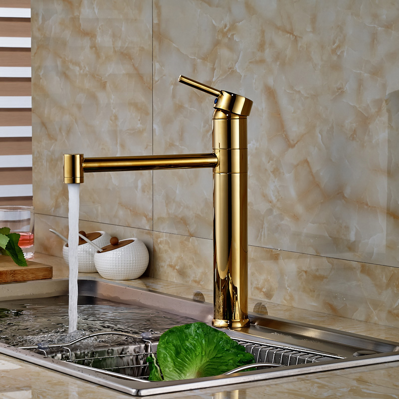 ФОТО Luxury Golden Deck Mount Kitchen Hot Cold Water Taps Single Handle Brass One Hole Mixer Faucet