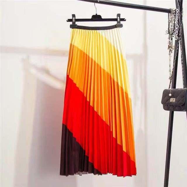 Women's High Waisted Pleated Skirt Rainbow Discoloration Silk Surface Retro A-Line