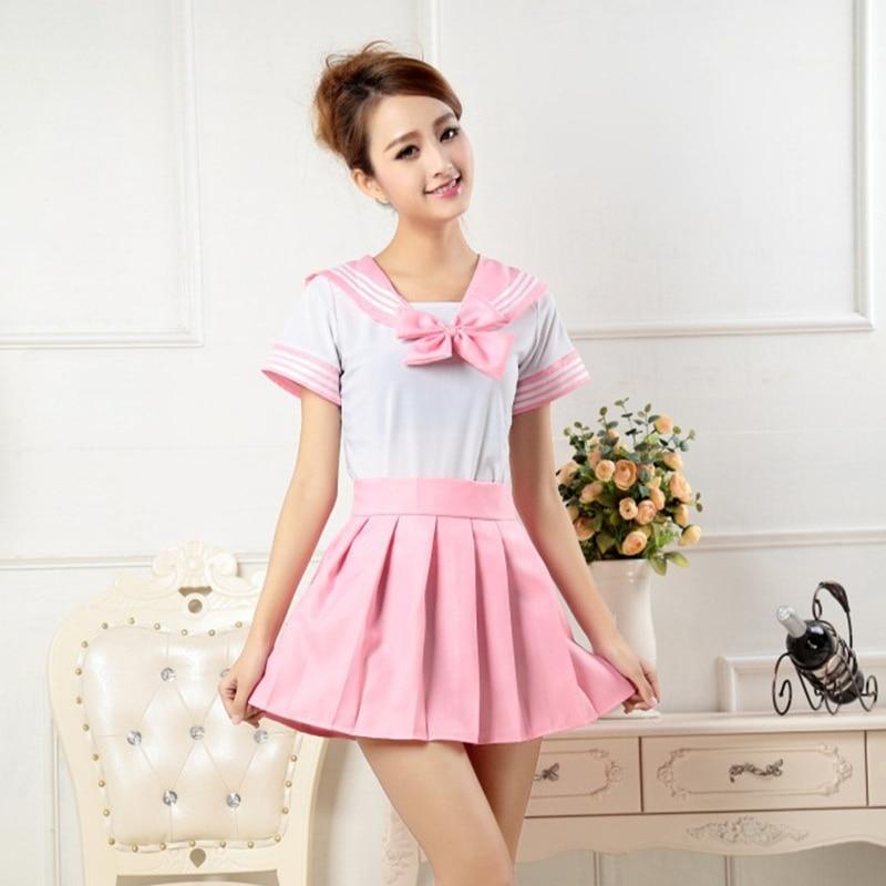 Novelty Women School Uniform Cosplay Sailor Suits Cute Tops Pleated Skirt Sets Girls Cheerleader Uniforms