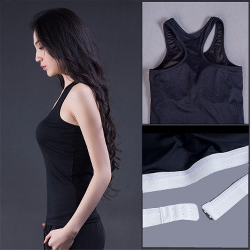 019 New Yoga Tops with Inside <font><b>Bra</b></font> Women <font><b>Sports</b></font> Vest Ladies Tight Stretch Quick-drying lothes Gym Training Running Sportswear <font><b>XXL</b></font> image