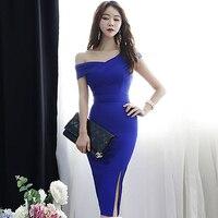 2019 Summer Sexy Slope Shoulder Sheath Blue Vestidos Knee Length Bodycon Solid Party Dress