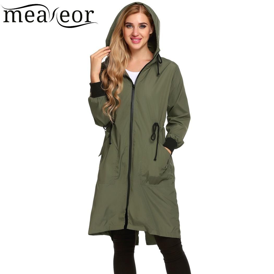 Meaneor 2018 Camiseta Women Hooded Long Sleeve Lightweight Long Rain Jacket Raincoat Chaqueta Jaqueta Veste Spring Autumn