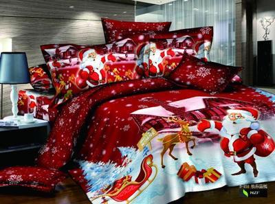 Christmas Bedding set king red fashion Santa Claus Sleigh 4pcs Bedding set 3D Blue Snow White Hometextiles Bedsheet Duvet covers
