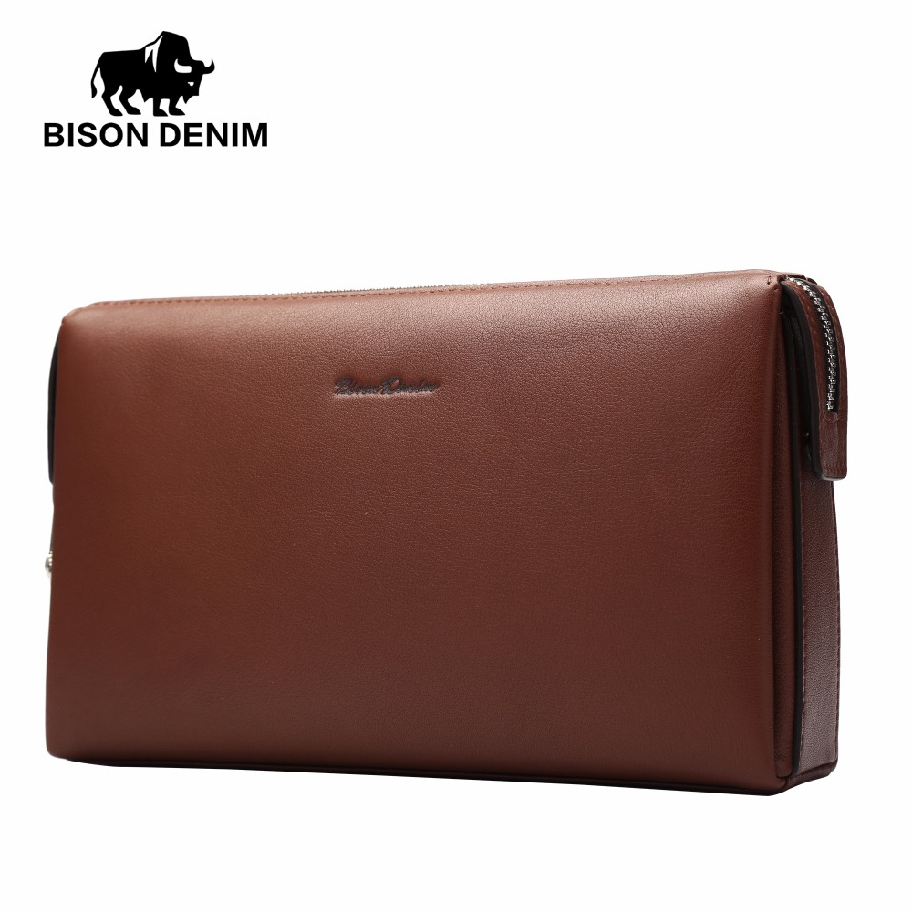 BISON DENIM Genuine Leather Men Clutch Wallets Fashion Zipper Male Wallet Men Purse Long Phone Wallet Men's Clutch Bag N8015-1C vintage genuine sheepskin leather male men s long wallet purse phone wallets card holder zipper pocket clutch bag bags for men