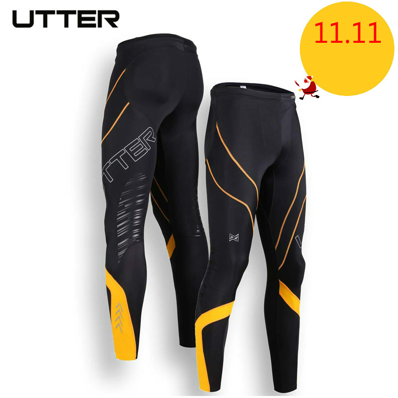 все цены на UTTER J6 Men Yellow Printing Compression Pants Sports Running Tights Bodybuilding Jogging Leggings Fitness Gym Clothing