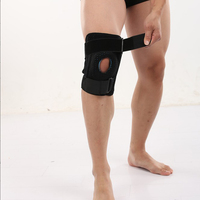 1pair Knee Brace with metal plate Support Professional Sports Safety Spring Knee Support Black Knee Pad Guard Protector Strap