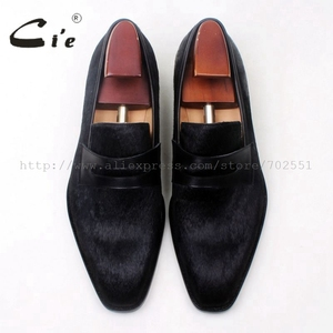 Image 4 - cie square toe penny shoe black horse hair bespoke leather man shoe handmade calf leather breathable genuine slip on loafer126