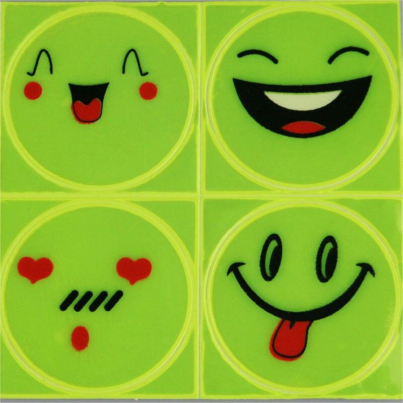 1 Blatt (4 Stücke), 5 Cm Reflektierende Aufkleber Aufkleber Lächeln Gesicht Für Motorrad Fahrrad Kinder Spielzeug, Wo Jeder Für Sicherheit Sichtbarkeit