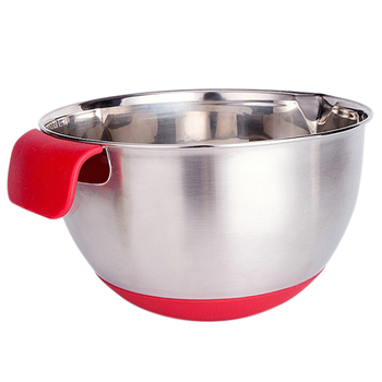 Stainless Steel Mixing Bowl With Silicone Handle And Design Of Mat Anti Slip Scale For Kitchen Use