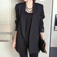 2018 Solid Long Style Black Women Jacket and Blazer Female Notched Collar Asymmetrical Chic Ladies Blazers feminino