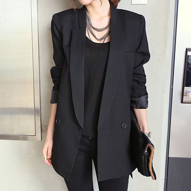 a057e33423 2019 Solide Style Long Noir Femmes Veste et Blazer Femme Entaillé Col  Asymétrique Chic Dames Blazers