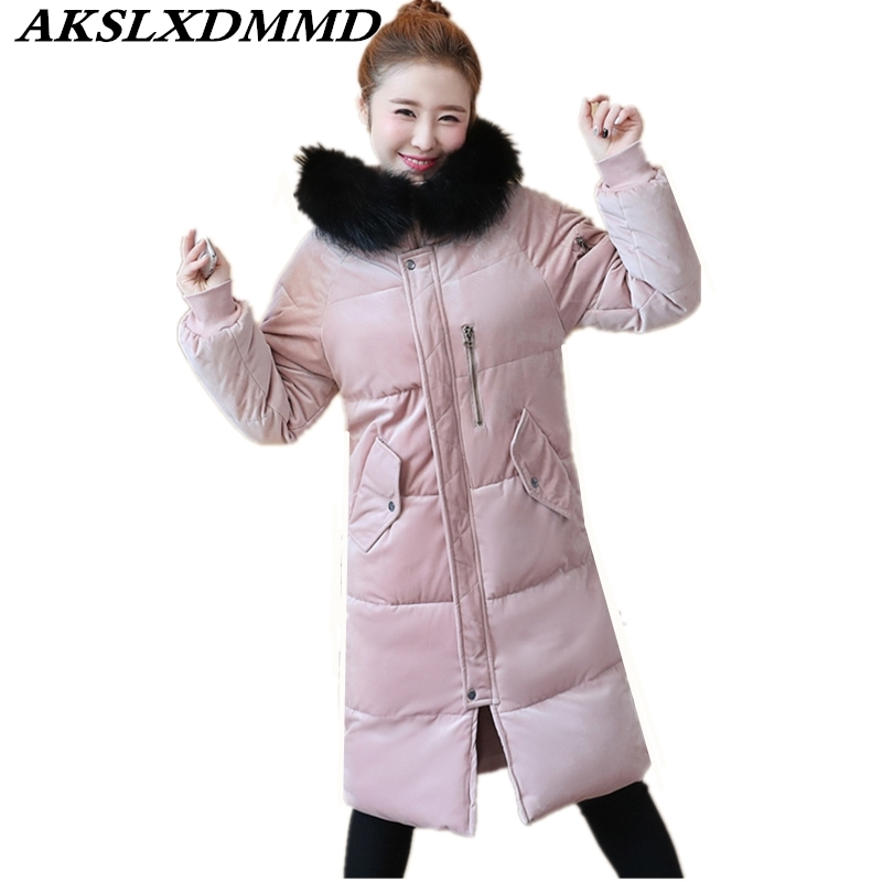 2019 Hooded Fox Fur Collar   Parkas   Winter for Women Fashion Thick Warmth Winter Womens Long Coat Casual Solid Cotton Jacket CW086