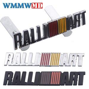 3d cromado metal emblema grille carro emblema adesivo para mitsubishi ralliart asx lancer outlander galant pajero ralliart etc