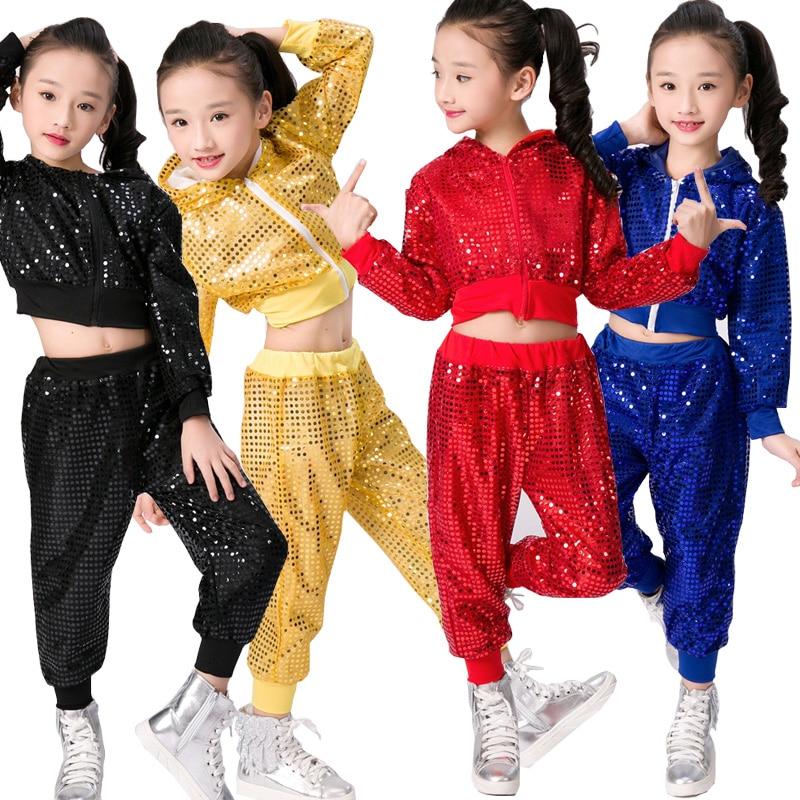 Kids Hip Hop Dancewear Costumes Girls Boys Modern Jazz Dancing Outfits Ballroom Party Sequined Dance Hoodie +Pants