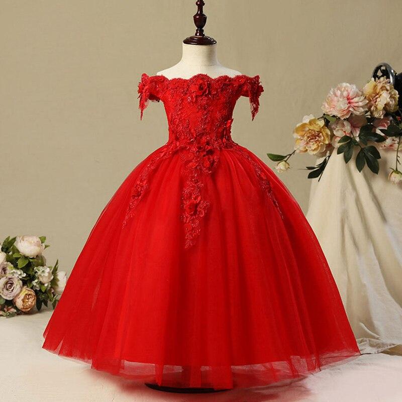 Длинное платье с цветочным узором для девочек, украшенное бусинами; Новинка года; праздничное платье для девочек на свадьбу; Красивое бальное сексуальное платье с открытыми плечами - Цвет: red