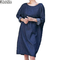 2017 ZANZEA Plus Size Womens V Backless Round Neck Long Sleeve Denim Blue Pockets Solid Loose