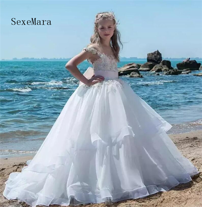 2018 Flower Girls Dresses Cap Sleeves Lace 3D Floral Appliques Beads Pearl Tiered Long Pink Bow Girls Pageant Gown Custom Made цены онлайн