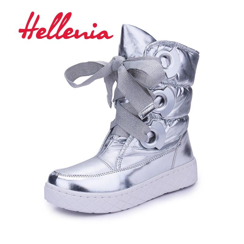 Hellenia Women Boots Winter Warm Snow Boot Fur Ankle Female Fashion Women Shoe Plush Insole Snow Boot Ladies Shoe Lace-up Grey
