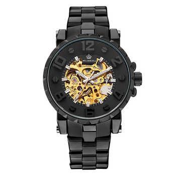 MG. ORKINA Silber Edelstahl Sport Design 3D Stereo Zifferblatt Design Goldene Skelett Uhren Automatik Herren Uhren Top-marke Luxus