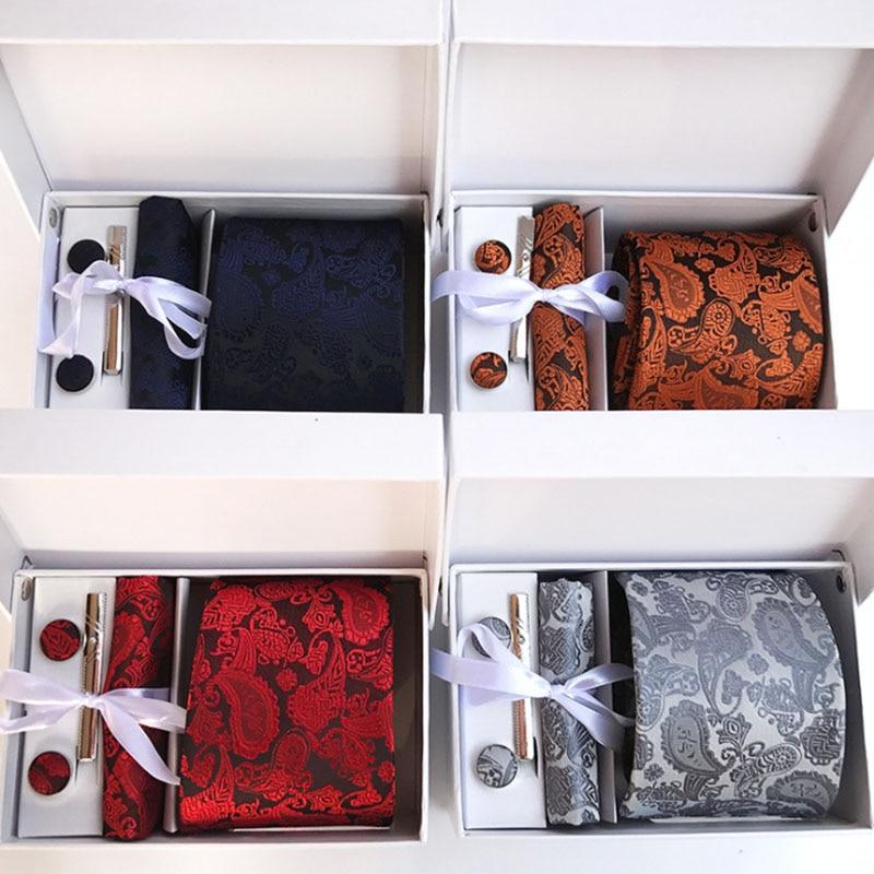 8cm Arrow Paisley Floral Man's Tie Wedding Mens Neckties Gravata Bussiness Men Tie Handkerchief Clip Cufflinks Gift Box Packing