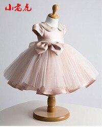 Caldo! collare di perle Vestito Dalla Neonata Battesimo Abito per la Ragazza Infantile 1 Anno Vestito di Compleanno per Neonata di Battesimo del Vestito per infantile