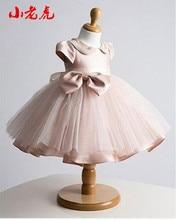 Quente! Vestido para meninas, gola de pérola bebê menina vestido de batismo para a menina infantil de 1 ano de aniversário vestido para bebê batizado vestido para meninas infantil