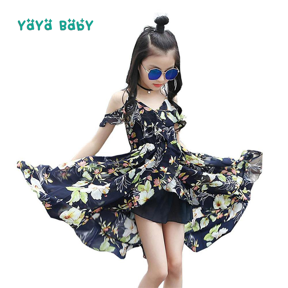Floral Girls Dress 2018 New Summer Fashion Children Princess Dresses Chiffon Asymmetrcal Kids Holiday Party Clothes for Girls