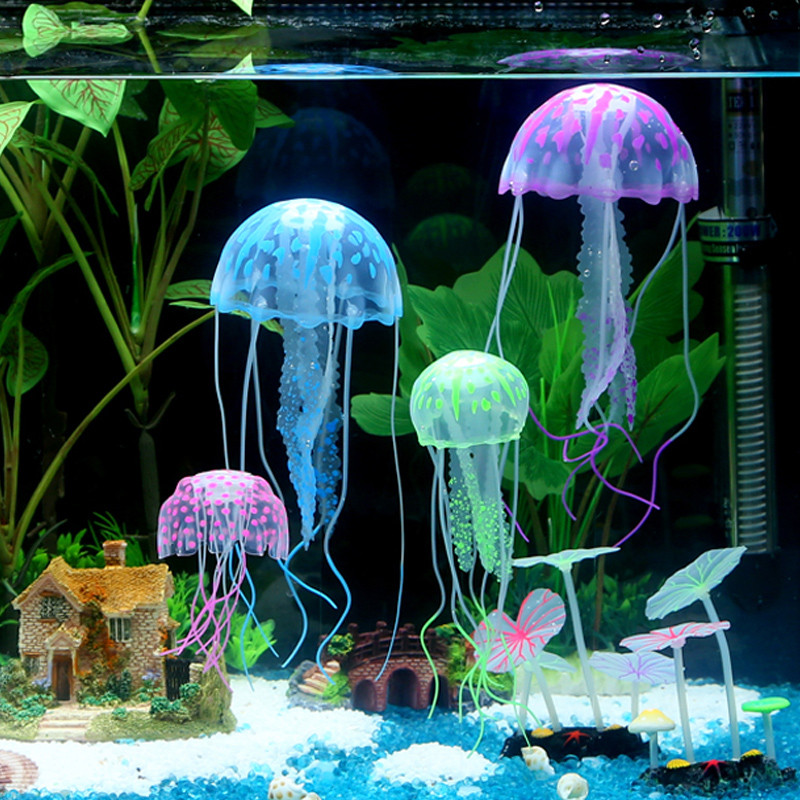 Nice Glowing Effect Silicone Artificial Jellyfish Fish Tank Aquarium Decoration Vivid  Ornament