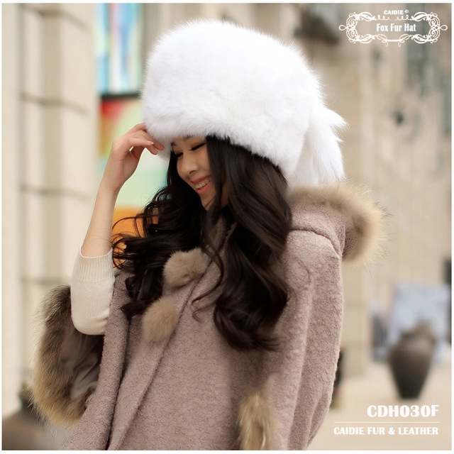 2014 Hot Sale CDH030F Fashion Winter Fox Fur Hat For Women