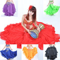 14 colors 3 Layers Chiffon Roll-up Trim Belly Dance Skirt, bellydance Top Quality Dancing Skirts, Long Gypsy Skirts VL-188