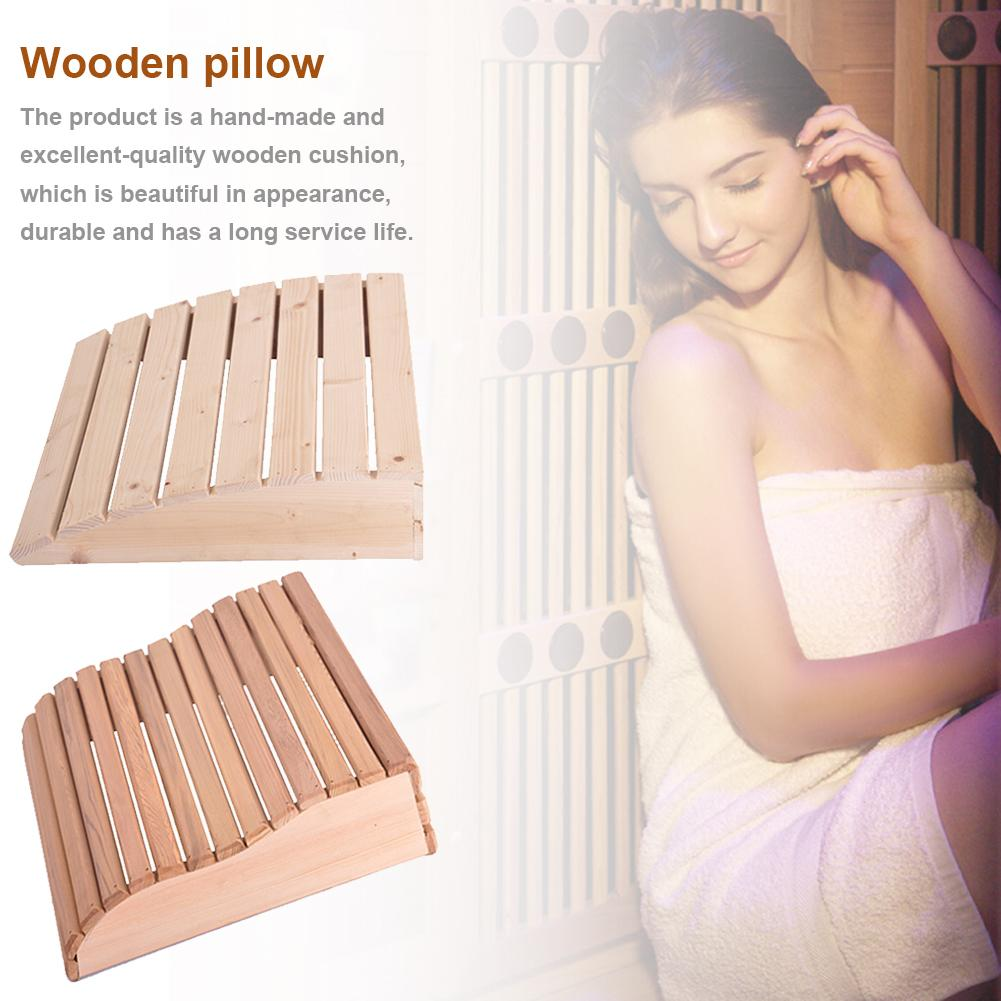 39x10x37cm Wooden Pillow Headrest Curved Cushion Sauna Durable For Bathroom Bedroom Office Home Nap Pillow Neck Support