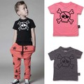 2017 kikikids nununu skull t shirt top short sleeve deconstructed top with skull printed t shirts/baby clothing minion bebe