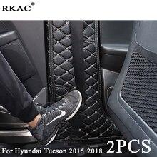 RKAC для hyundai Tucson 2015-2018 автомобиль внутренние формовки Kick Pad Автомобильные двери защита коврик подушка заднего сиденья анти-Kick Pad