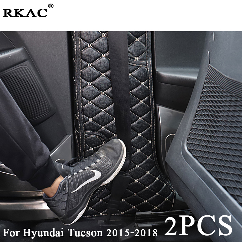 RKAC For Hyundai Tucson 2015 2018 Car Interior Mouldings Kick Pad car doors Protection Mat Cushion Rear Seat Anti Kick Pad