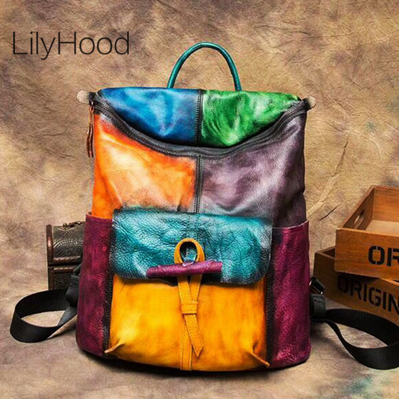 Cowhide Brushed-off Leather Backpack Women Genuine Leather Big Capacity Knapsack Female Vintage Multicolor Patchwork Packsack